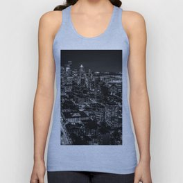 Seattle from the Space Needle in Black and White Unisex Tank Top