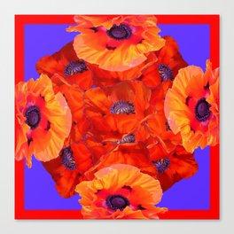 Red-Orange Oriental Poppies  P{urple Pattern Art Canvas Print