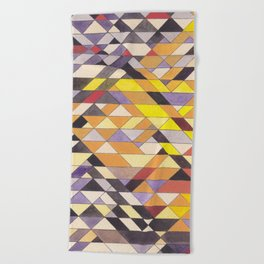 Triangle Pattern No.8 Black and Yellow Beach Towel