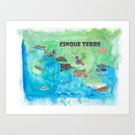 Cinque 5 Terre Italy Favorite Travel Map with touristic Top Ten Highlights Art Print