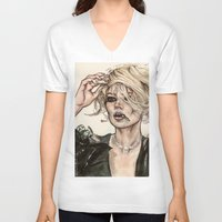 kate moss V-neck T-shirts featuring Kate Moss by vooce & kat