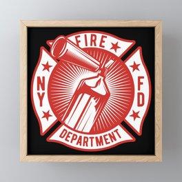 Fire Fighter - Fire Extinguisher - dark Framed Mini Art Print