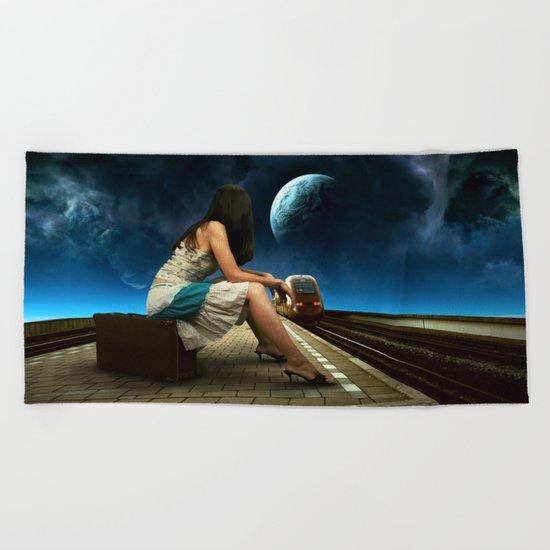 Midnight Train Beach Towel