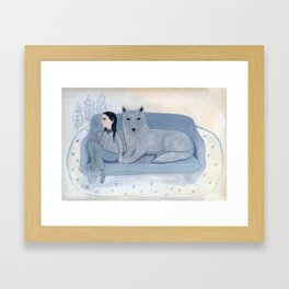 Girl with Blue Wolf Framed Art Print
