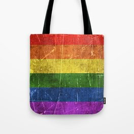 Vintage Aged and Scratched Rainbow Gay Pride Flag Tote Bag