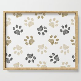 Doodle grey and gold paw print seamless fabric design repeated pattern background Serving Tray
