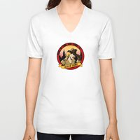 river song V-neck T-shirts featuring Where In Time and Space Is River Song? by mikaelak