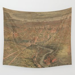 Vintage Pictorial Map of Hartford Connecticut (1864) Wall Tapestry
