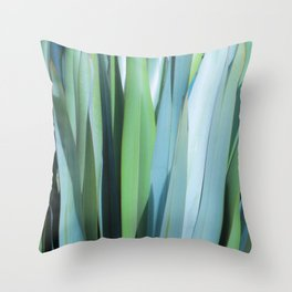 blue and green leaves Throw Pillow
