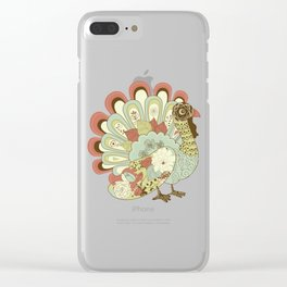 Vintage Floral Cute Thanksgiving Dinner Turkey Day Clear iPhone Case