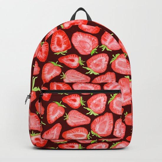 Fresh strawberry slices watercolor dark bg Backpack