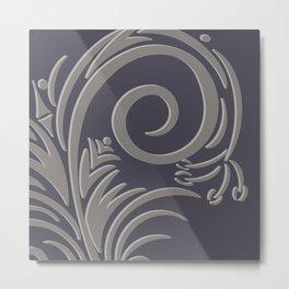 Floral Fantasy - Charcoal  Metal Print