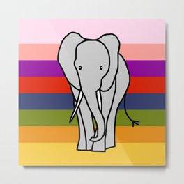 Big Elephant on a Rainbow Metal Print