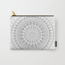 Light Grey White Mandala Carry-All Pouch