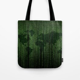 World Map Matrix Code Data Networking Espionage Web Green Tote Bag