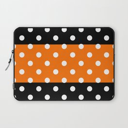 Extra Large White Polka Dots on Orange and Black Stripes Laptop Sleeve