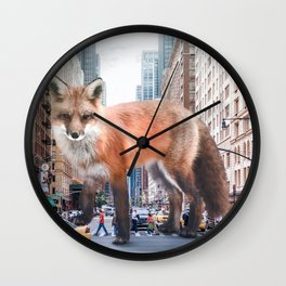 fox in new york Wall Clock