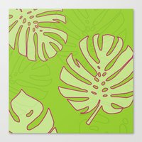 Canvas Prints featuring Green Monstera Leaves Unique Pattern by oursunnycdays