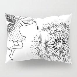 Fairy picking up dandelion seed Pillow Sham