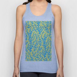 Yellow and Blue Floral Leaves Gouache Pattern Unisex Tank Top