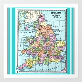 Vintage Map  of England and Wales Art Print