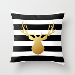 Deer head silhouette - Gold foil black and white stripe design Throw Pillow