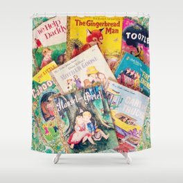 Little Vintage Library Shower Curtain