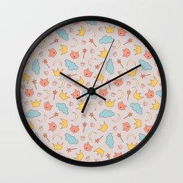 cute pattern with sleepy cats Wall Clock