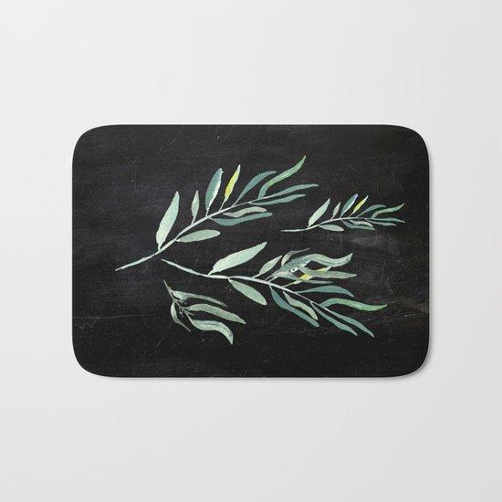 Eucalyptus Branches On Chalkboard II Bath Mat