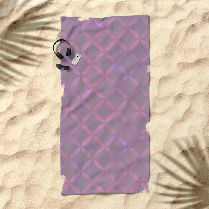 Round Pink Grey Pattern Beach Towel