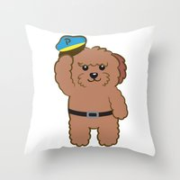 police Throw Pillows featuring Poodle Police by Tetchan