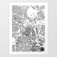 los angeles Art Prints featuring LOS ANGELES by Maps Factory