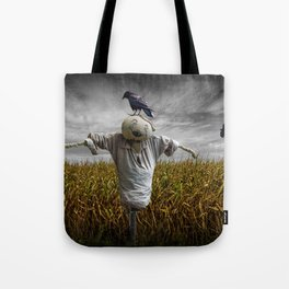 Scarecrow with Black Crows over a Cornfield Tote Bag