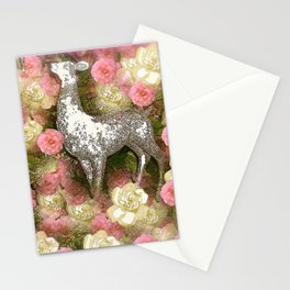 White Deer and Pink Roses Stationery Cards
