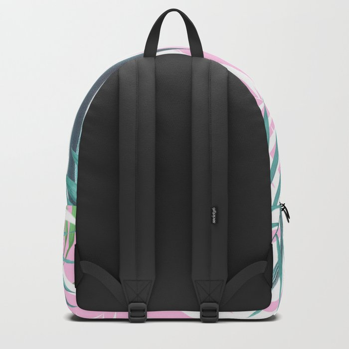 Tropical leaves pink and turquoise Backpack