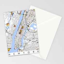 New York City Map United States Mondrian color Stationery Cards