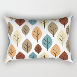 cute colorful autumn fall pattern background illustration with leaves Rectangular Pillow