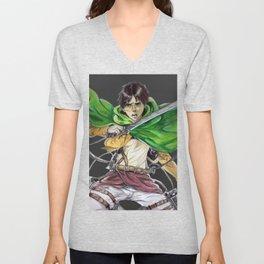 Eren Jaeger (dark gray background) Unisex V-Neck
