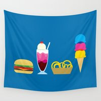hamburger Wall Tapestries featuring There's nothing finer... by Mouki K. Butt
