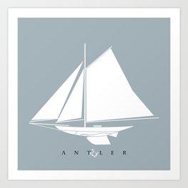 White Sail Boat on Blue Art Print
