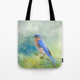 Bluebird In The Garden Tote Bag