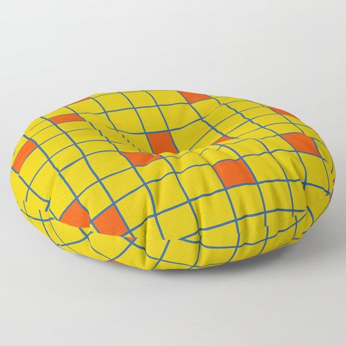 Abstract Retro Grid Orange Squares Floor Pillow