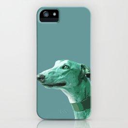 Green Greyhound. Pop Art portrait. iPhone Case