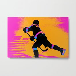He Shoots! - Hockey Player Metal Print