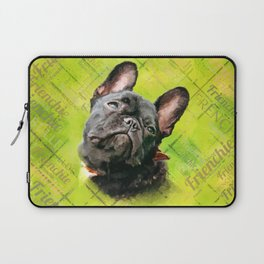 Cute French Bulldog - Frenchie with word pattern Laptop Sleeve