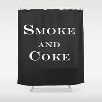 coke Shower Curtains featuring Smoke and Coke by Stanislav X Smith