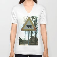 cows V-neck T-shirts featuring Attention cows by Falko Follert Art-FF77