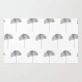 Grey Ginko Leaf - Minimalist Nature Rug