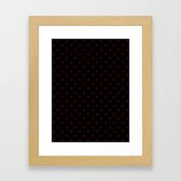 Burgundy Red on Black Snowflakes Framed Art Print
