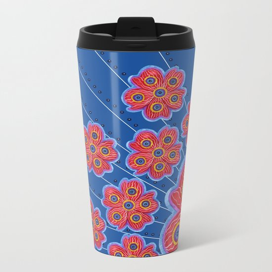 A Lot of Red Flowers Metal Travel Mug